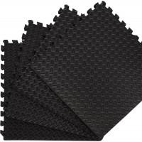 Puzzelmatten Zwart  - met afwerkingsrand 4 stuks van 60x60x1.2cm