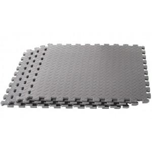 Puzzelmatten Grijs  - met afwerkingsrand 4 stuks van 60x60x1.2cm