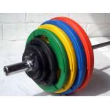 Halterset - Olympische 140 kg - met overtrokken rubber plate schijven