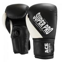 Super Pro Combat Gear ACE (kick)bokshandschoenen Zwart/Wit 14 OZ