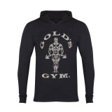 Muscle Joe Long Sleeve Hooded T-shirt - Gold's Gym- Black