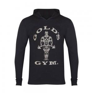 Muscle Joe Long Sleeve Hooded T-shirt - Gold's Gym- Black